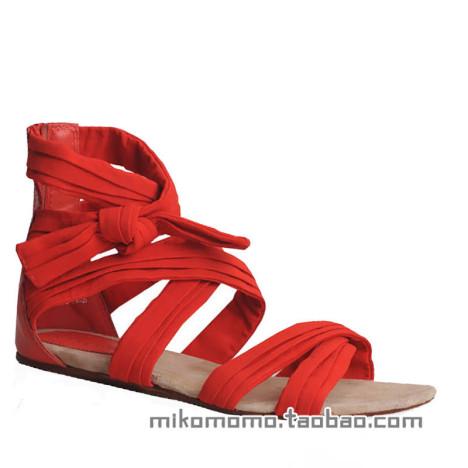 红色平跟凉鞋搭配图片