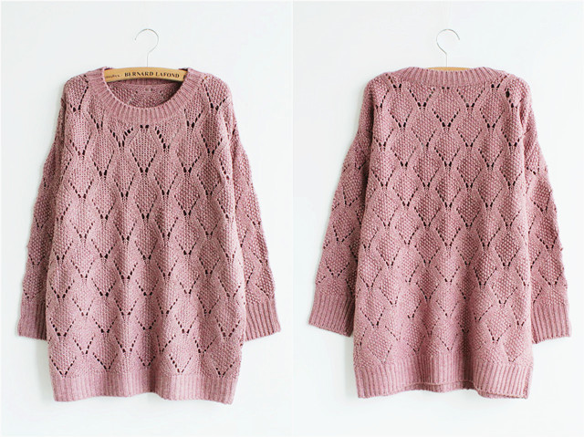 【韩版好品质菱形块镂空毛衣】-衣服-毛衣