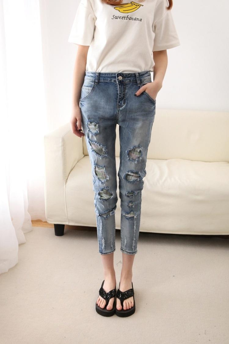 【高档破洞牛仔裤】-衣服-裤子