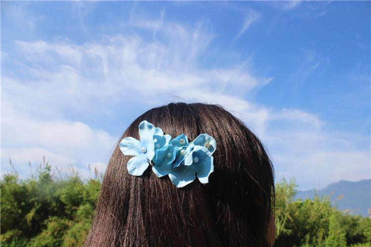 【原创手制自然森系创意仿真绣球花发饰头饰花朵发梳