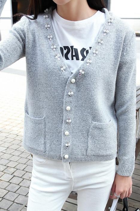 【韩版新款珍珠纽扣针织开衫】-衣服-开衫