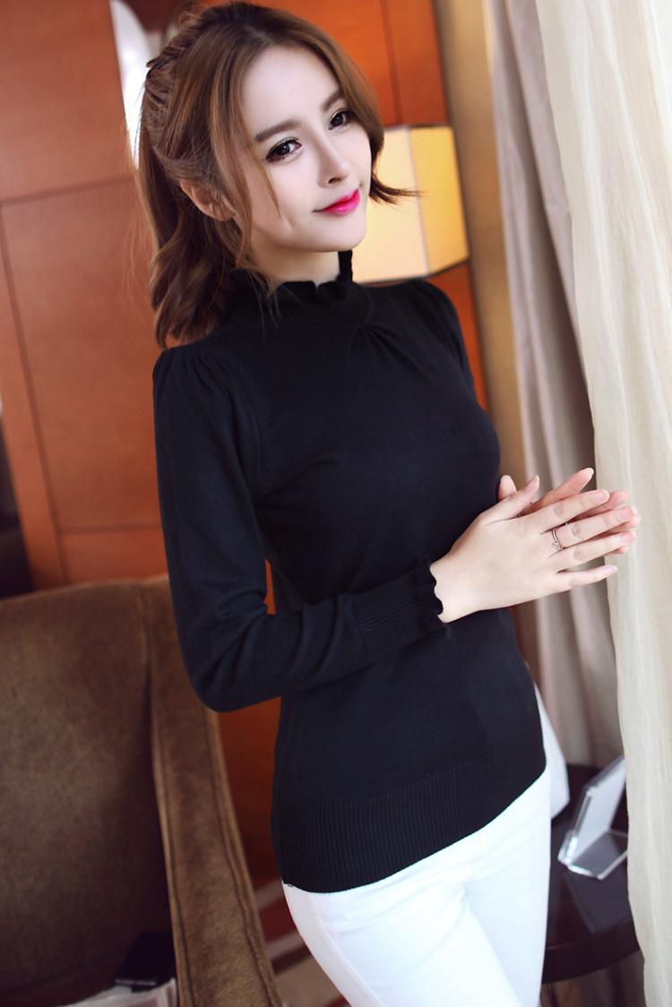 【韩版纯色褶皱花边领毛衣】-衣服-毛衣