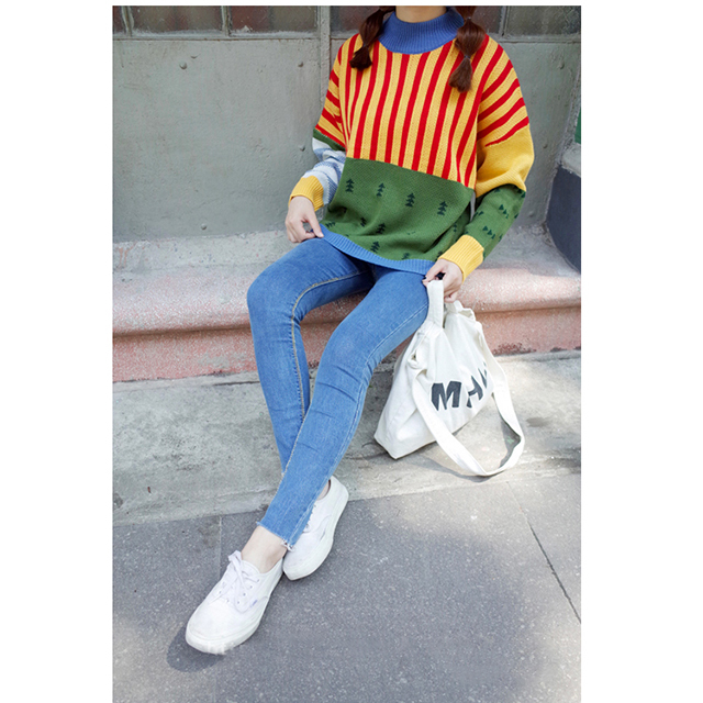 【可爱原宿风宽松套头毛衣】-衣服-针织衫