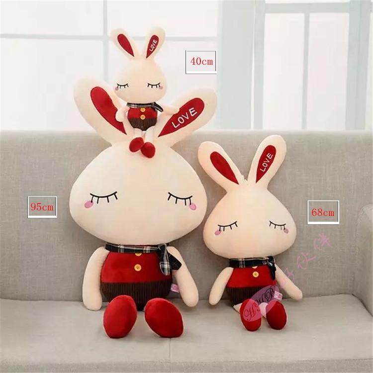 【包邮可爱love围巾兔子毛绒玩具兔子布娃娃小兔子】