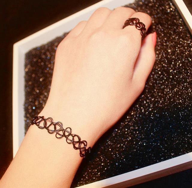 【欧美纹身编织鱼线项圈手链戒指】-衣服-配饰