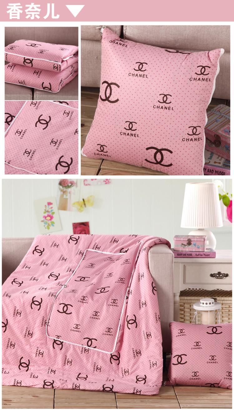 【全棉可爱卡通抱枕被子两用折叠靠垫被午休被空调被