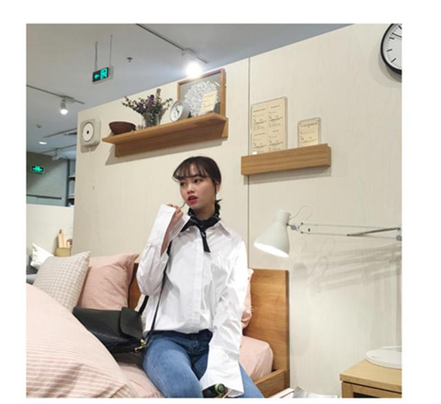 新款韩国随性竖条纹纯色宽袖口衬衣