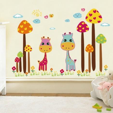 蘑菇长颈鹿贴画,卡通儿童贴