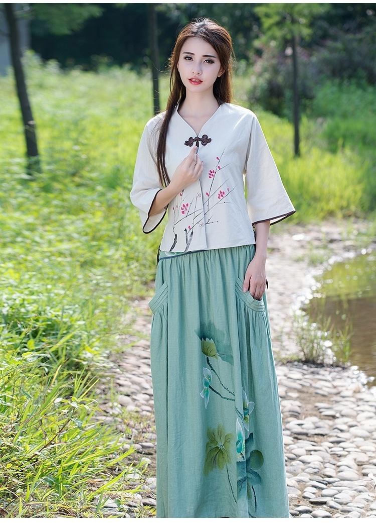 中国风文艺范女装2016春夏新款棉麻民族风手绘印花旗袍衬衫上