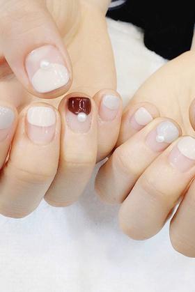 奶茶半圆珍珠 短款可爱的款式 美甲甲片 假指甲 假指甲贴片